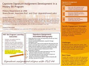 Capstone Signature Assignment Development in a History BA Program