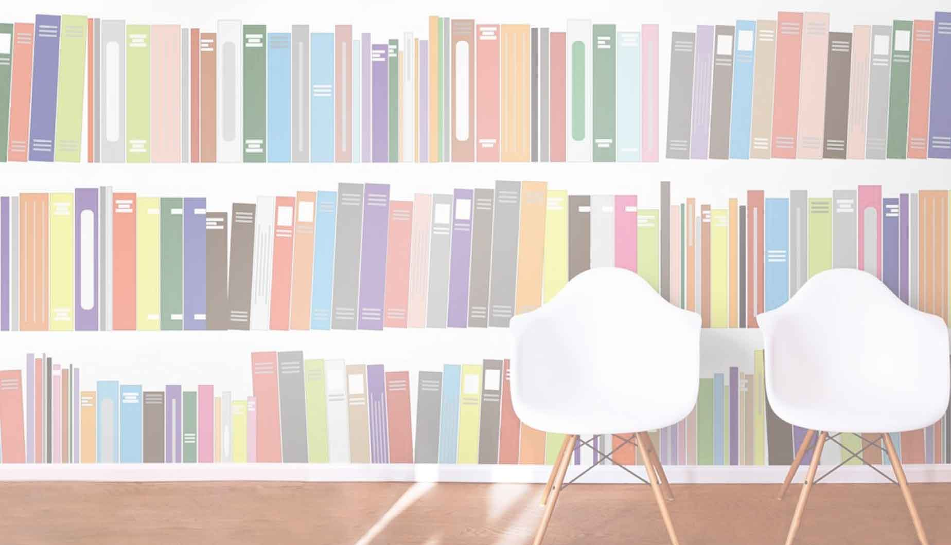 Illustration of two chairs in front of a shelf of books and resources
