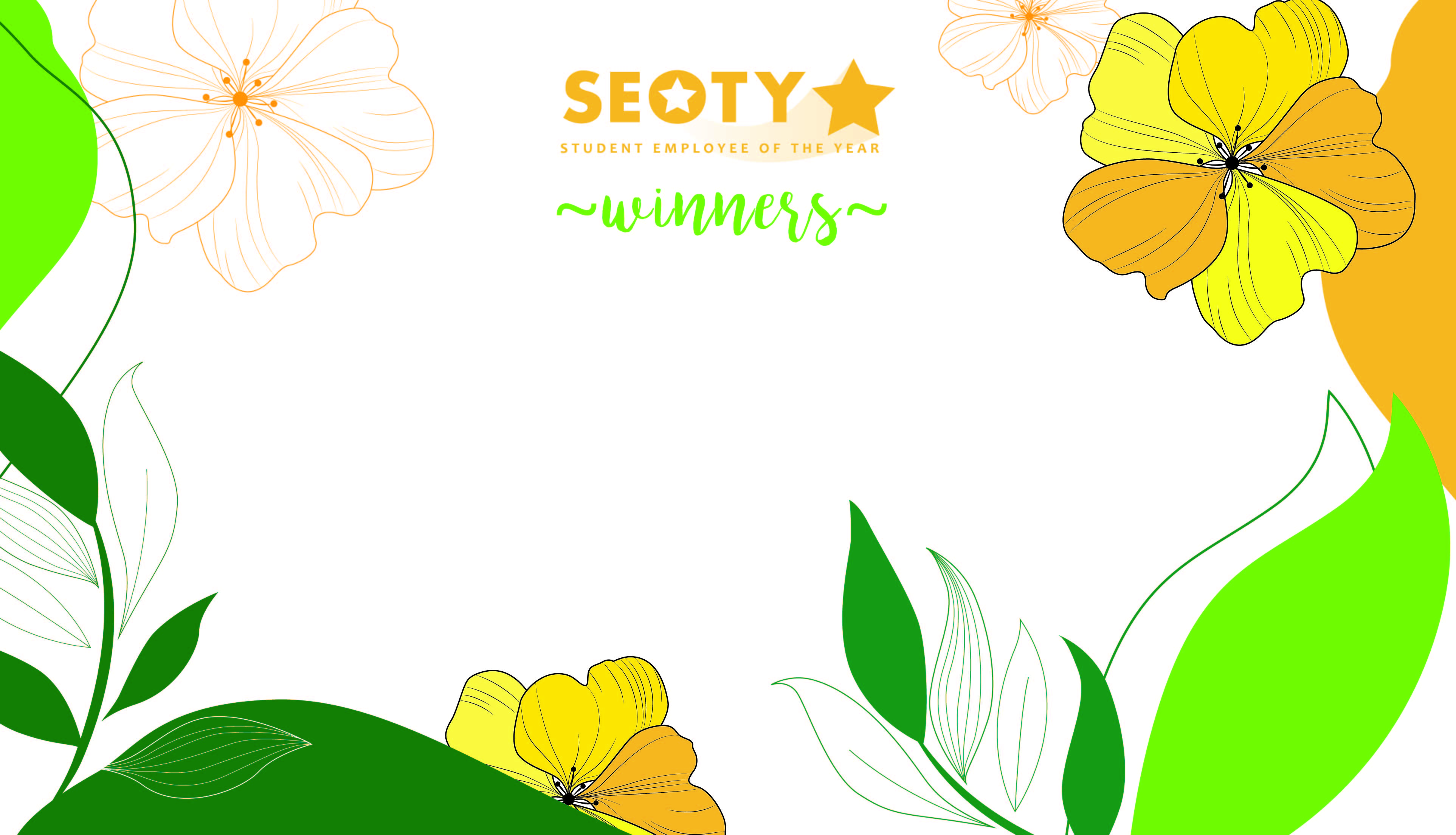 Line illustrations of flowers in orange and green with label SEOTY Nominations in script