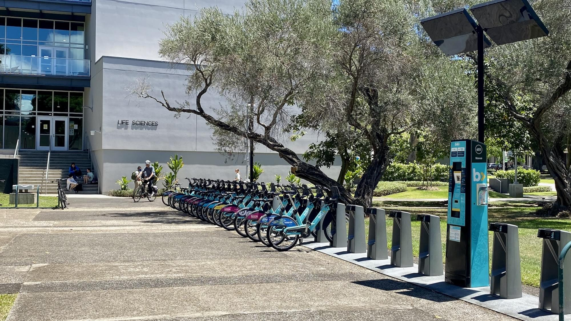 Biki bikes at stop between Hamilton Library and Life Sciences Bldg.