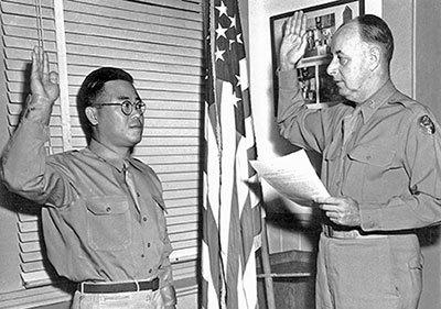 Arthur Komori sworn into military