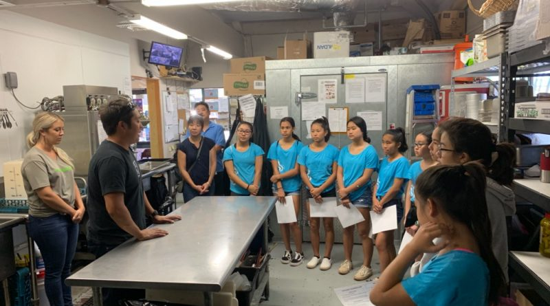 Lucky Clovers Youngers Club learning about food safety at the Fork and Salad Restaurant