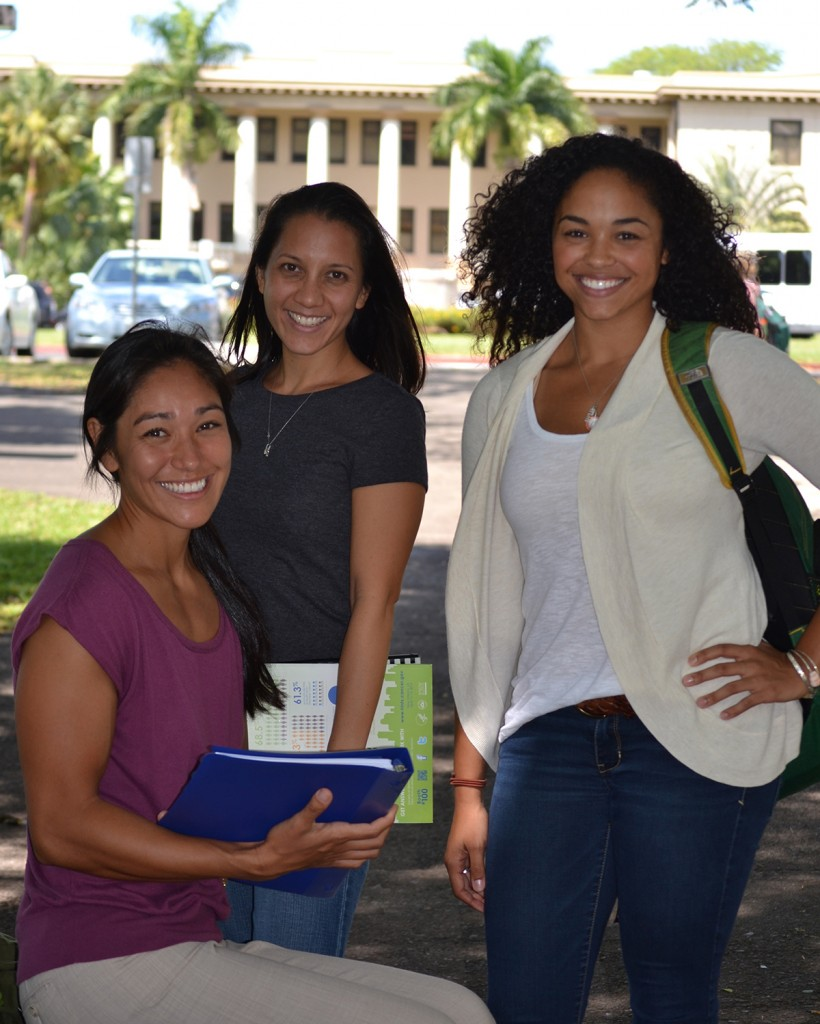 Some of our PhD students in front of Hawaii Hall, the first building on the University of Hawai'i at Mānoa Campus.