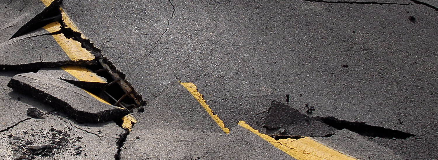 Cracked road after an earthquake
