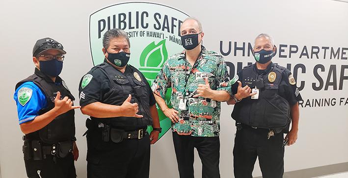 DPS officers wearing masks