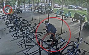 Photo of suspects in bike cage