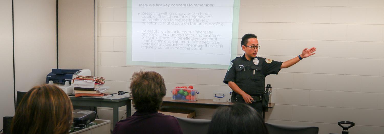 DPS officer teaching a workshop