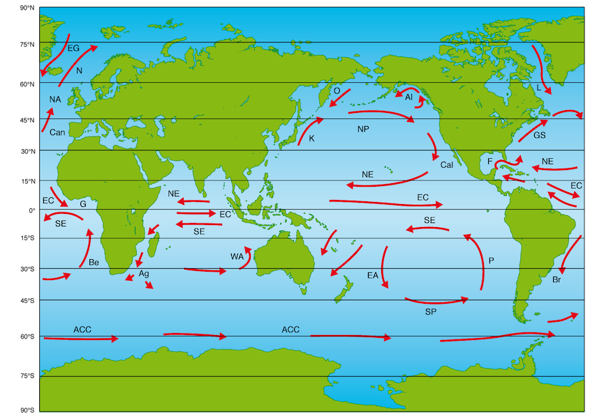 <p><strong>Fig. 3.14.</strong> Major surface currents of the world ocean. Individual surface currents are identified in Table 3.1.</p>