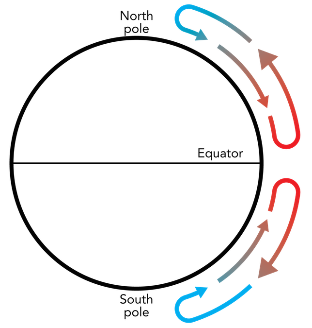 <p><strong>Fig. 3.7.</strong> Hypothetical simplified atmospheric circulation between the equator and poles if the earth did not rotate. Hot, moist, less-dense air masses rise at the equator and becoming cold, dry, and more dense before sinking at the poles.</p>