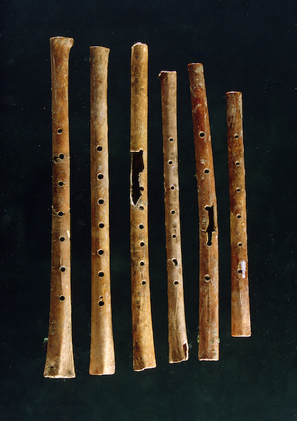 <p><strong>Fig. 5.43.</strong> (<strong>B</strong>) Flutes discovered in the Yellow River Valley, China. They are between 7,000 and 9,000 years old, made from wing bones of the red-crowned crane (<em>Grus japonensis</em>).</p>