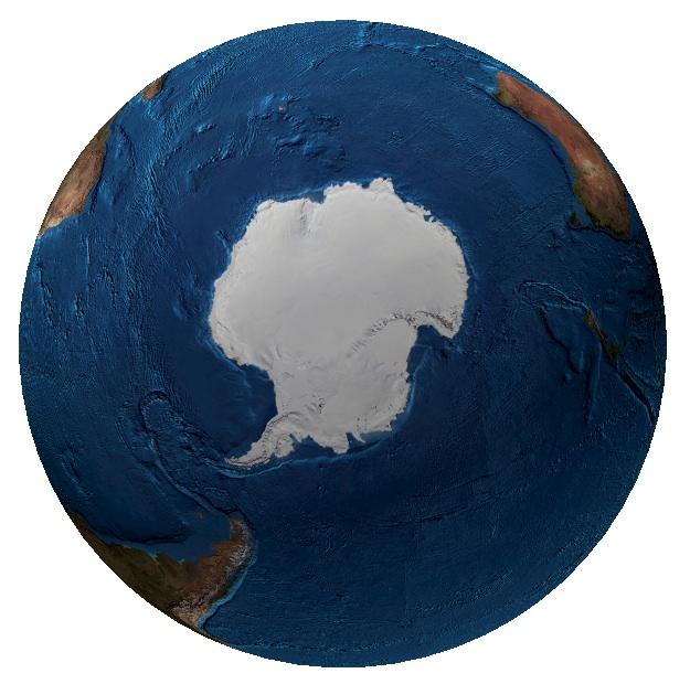 <p><strong>Fig. 1.2 </strong>(<strong>A</strong>)&nbsp;Map of the world from the South Pole, including sea ice (1997)&nbsp;</p>