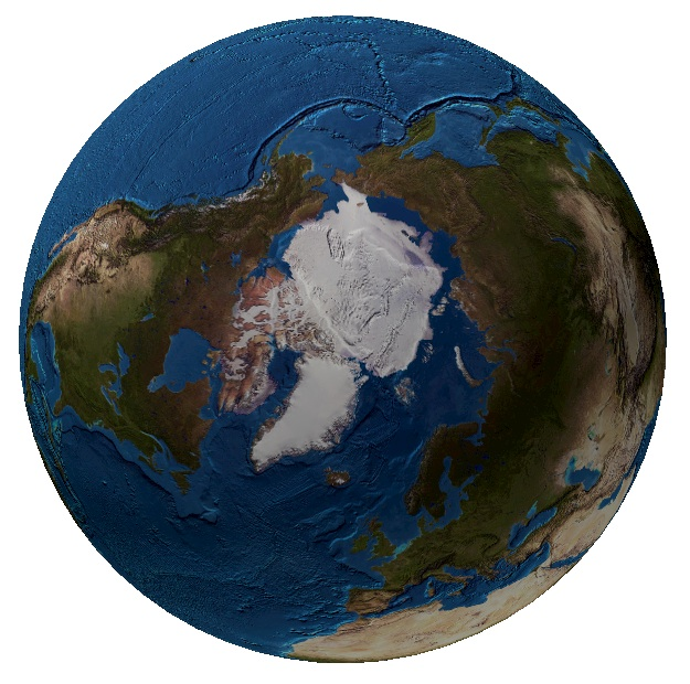 <p><strong>Fig. 1.2&nbsp;</strong>(<strong>C</strong>)&nbsp;Map of the world from the North Pole, not including sea ice&nbsp;</p>