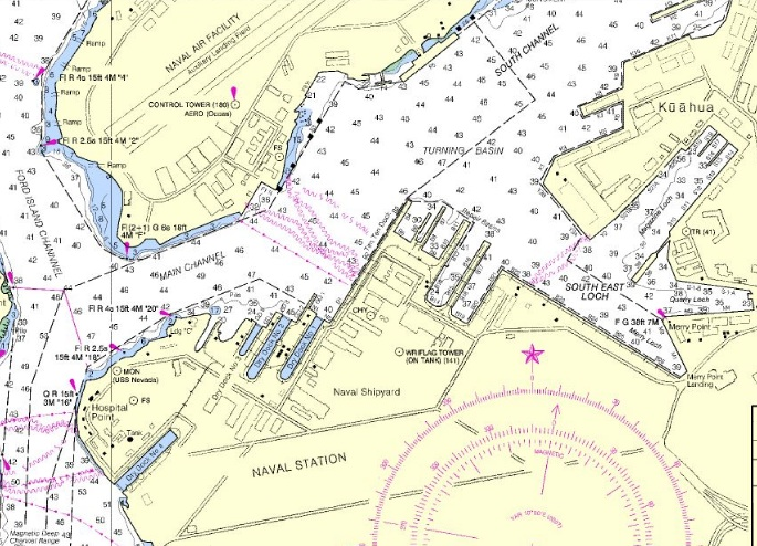 <p><strong>Fig. 1.3</strong> (<strong>C</strong>) A nautical chart of a portion of Pearl Harbor. This portion is the area outlined in red on maps A and B.</p>