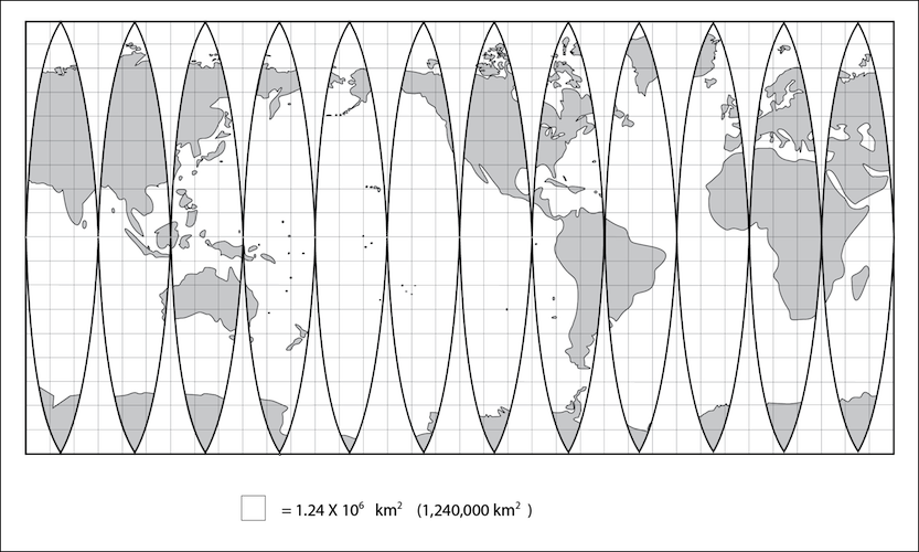 <p><strong>Fig. 1.8.1.</strong> Equal-area map with superimposed grid. One square at the equator represents a surface area of about 1,240,000 square kilometers. On this map land is grey even if it is covered by ice. This map does not show sea ice.</p>