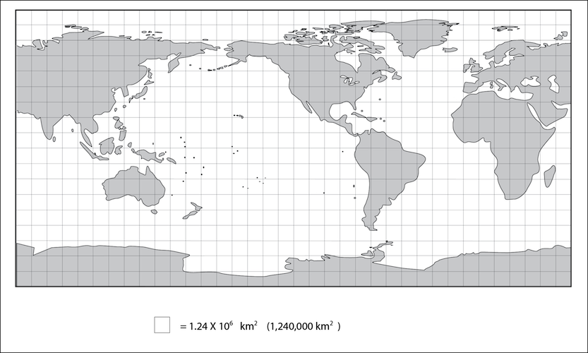<p><strong>Fig. 1.8.2.</strong> Cylindrical-projection map with superimposed grid. One square at the equator represents a surface area of about 1,240,000 square kilometers. On this map land is grey even if it is covered by ice. This map does not show sea ice.</p>