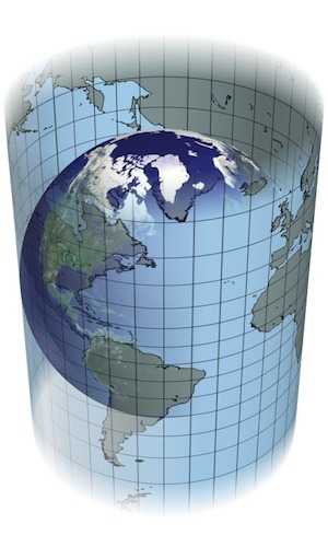 <p><strong>Fig. 1.8</strong> (<strong>B</strong>) cylindrical projection map creation</p>