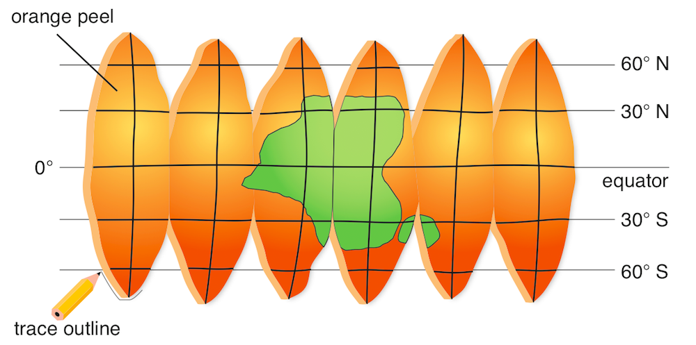 <p><strong>Fig. 1.28.</strong> An equal-area map made from orange peel segments</p>