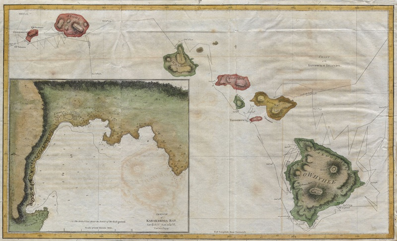 <p><strong>SF Fig. 1.3.</strong> (<strong>A</strong>)&nbsp;Chart of the Sandwich Islands, author unknown, published in the official account of Captain James Cook&rsquo;s third voyage, 1785.</p>
