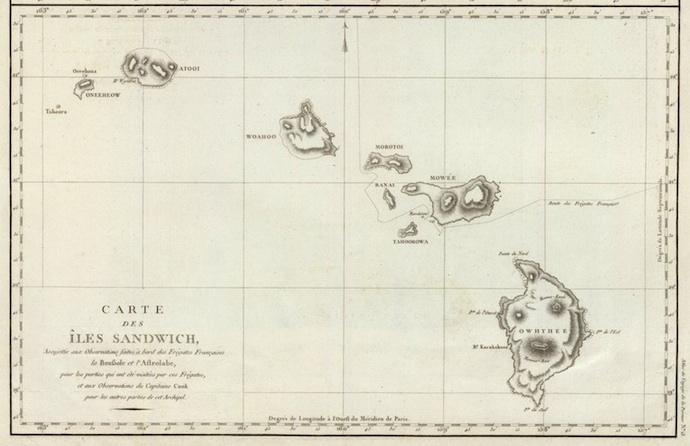 <p><strong>SF Fig. 1.3.&nbsp;</strong>(<strong>B</strong>) Carte Des Îles Sandwich, Bernizet, 1786, Captain Jean-Francois de Galaup Comte de La Pérouse</p>