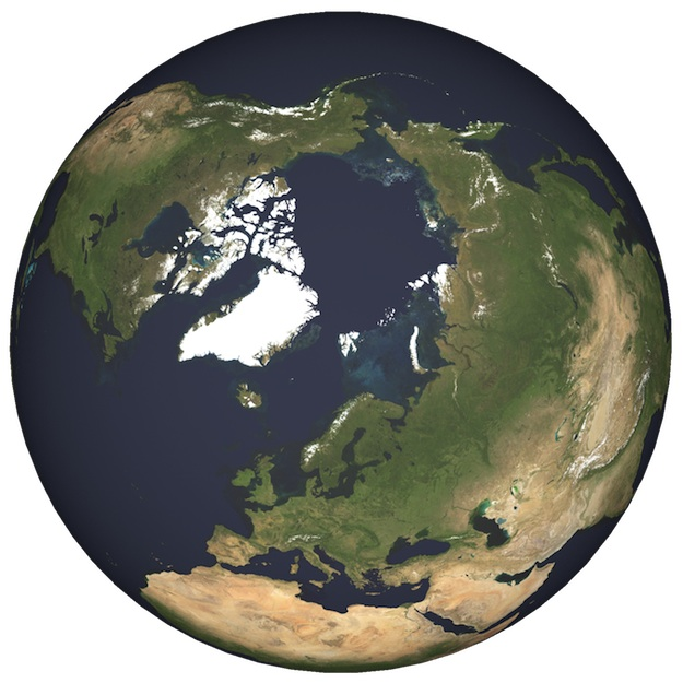 <p><strong>Fig. 1.2&nbsp;</strong>(<strong>B</strong>)&nbsp;Map of the world from the North Pole, including sea ice (1997)&nbsp;</p>