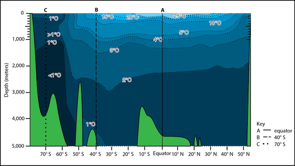 <p><strong>Fig. 2.10.</strong> Idealized vertical temperature profile of the Pacific ocean basin showing water in blue and seafloor features in green. The highest, or warmest, water temperatures are shown in light blue. The lowest, or coldest, water temperatures are shown in dark blue.</p>