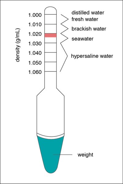 <p><strong>Fig. 2.14.</strong> A hydrometer used to determine water densities in g/mL. The pink shaded region indicates the optimum density of saltwater aquaria at an average temperature of 20˚C to 25˚C.</p>