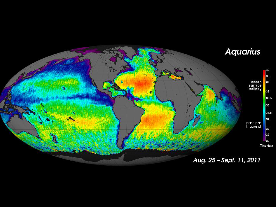<p><strong>SF Fig. 2.3.</strong> The average ocean surface salinity from August 25 to September 11, 2011, produced by the National Aeronautics and Space Administration (NASA) science satellite Aquarius. Red indicates areas of high salinity. Purple indicates areas of low salinity.</p>