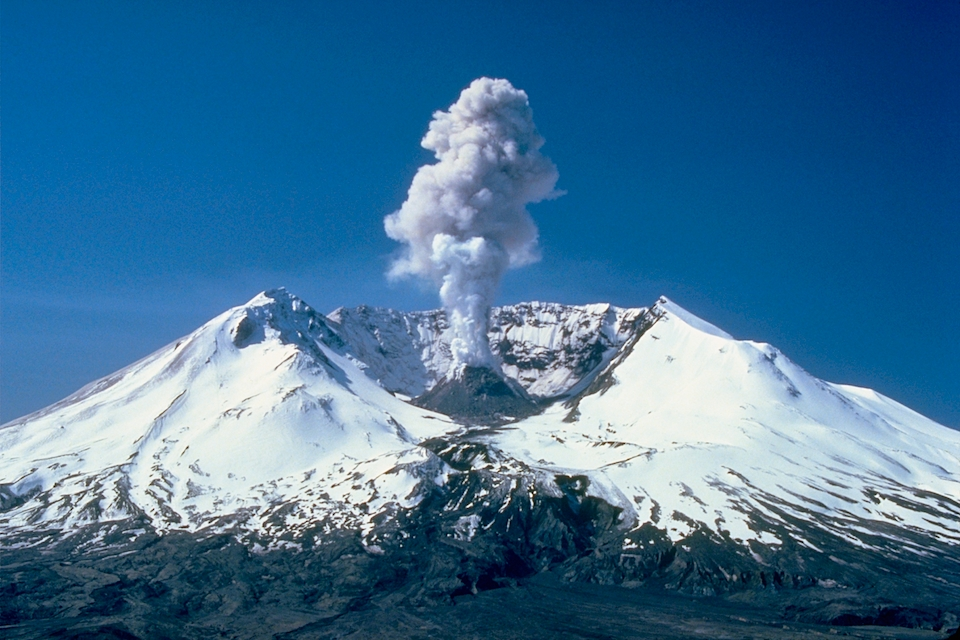 <p><strong>SF Fig. 7.8.</strong> (<strong>A</strong>) Mount St. Helens, a composite volcano in Washington state</p>