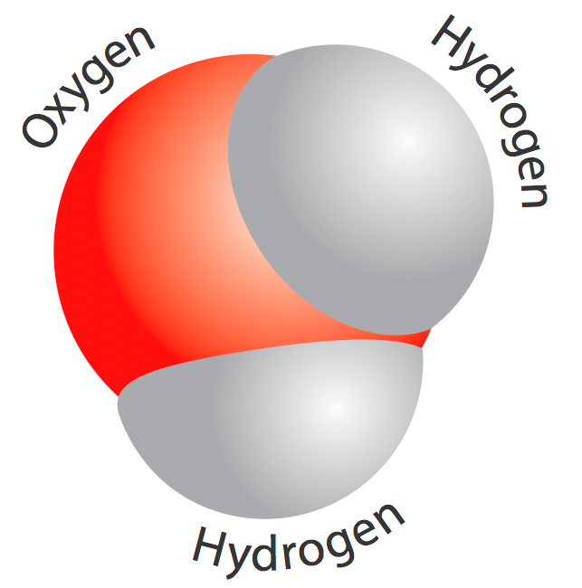 <p><strong>Fig. 1.4.</strong>  A diagram of a water molecule. The circles represent atoms of elements.</p><br />