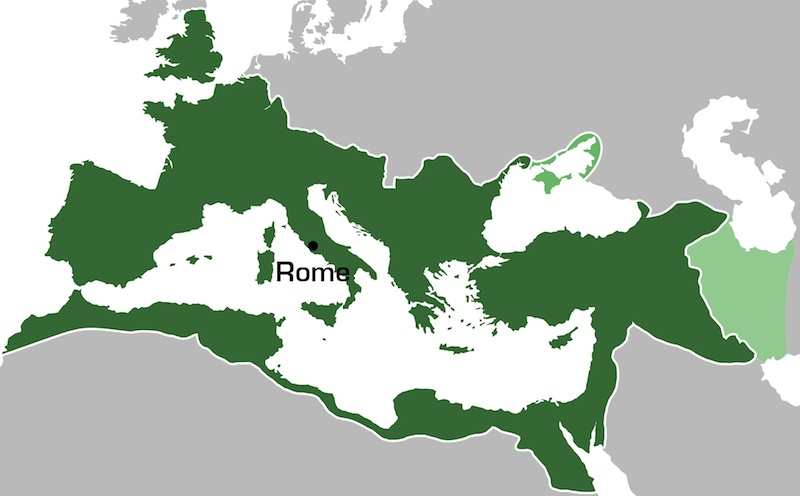 <p><strong>SF Fig. 1.3.</strong>  Extent of the Roman Empire in AD 117. This is the area over which Latin would have been spoken.</p>