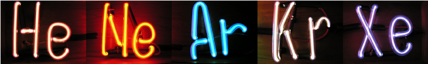 "<p><strong>Fig 2.16.</strong> ""Neon"" signs are composed of different noble gases, only one of which is the element neon. Nobel gases light up with different colors when electricity is passed through them.</p><br />"