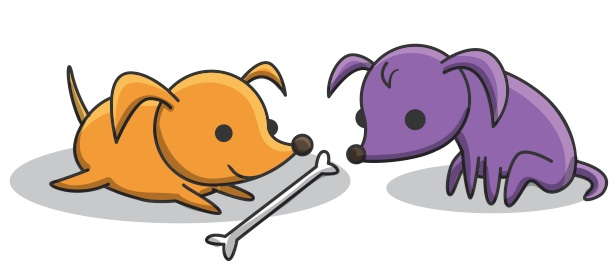 <p><strong>Fig. 2.23.</strong>&nbsp;(<strong>B</strong>) One puppy steals the other puppy's bone.</p>