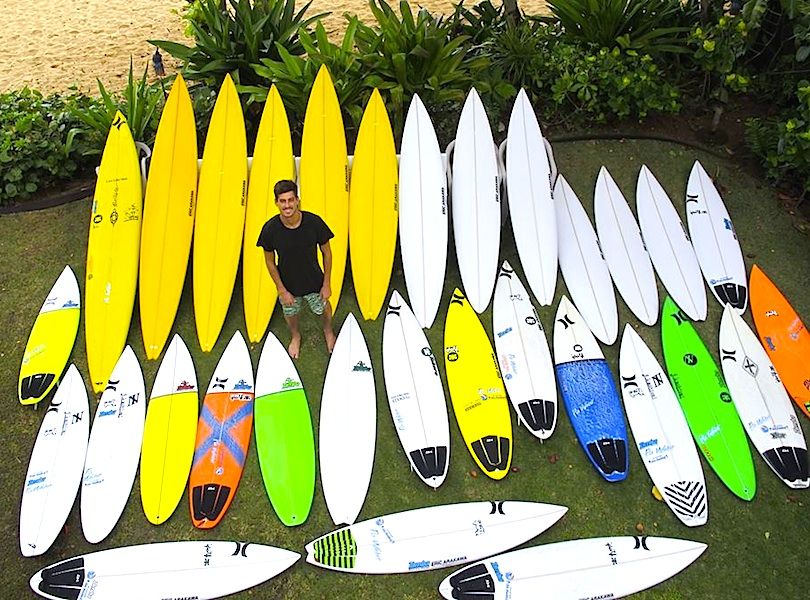 """<p><strong>SF Fig. 4.2.</strong>&nbsp;(<strong>A</strong>) The quiver of a professional surfer, Evan Valiere. He models his quiver of high-performance short boards (from 5'10"""" tall) and longer boards (up to 10'5""""). The longer ones, also known as """"guns"""", are made for catching large, outer reef waves (such as those that break at Waiamea Bay on Oahu, Hawaii). Notice also the variety of tail shapes, from blunt """"squash"""", to rounded pin, to v-shaped """"fish"""" tails.</p>"""