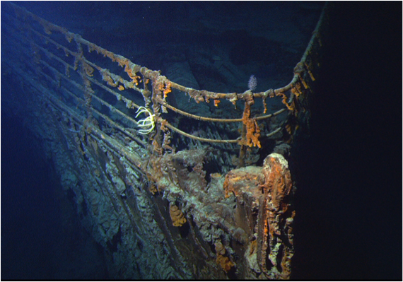 <p><strong>SF Fig. 1.13. </strong>This photograph of the bow of the Titanic was taken in 2004 by the ROV (Remotely Operated Vehicle) Hercules. </p>
