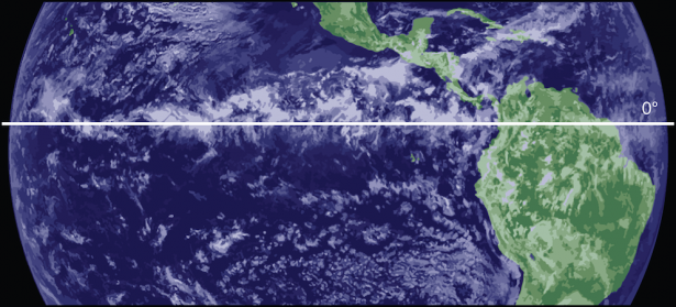 <p><strong>Fig. 3.11.</strong> Clouds forming over the equator at the intertropical convergence zone.</p><br />