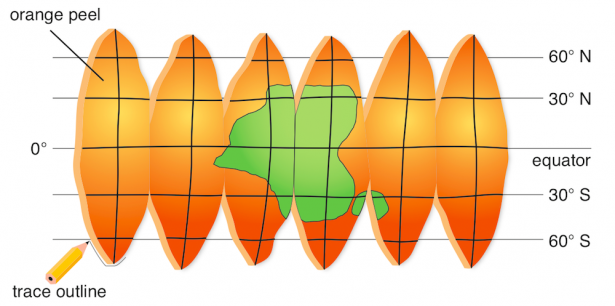 <p><strong>Fig. 1.28.</strong> An equal-area map made from orange peel segments</p><br />