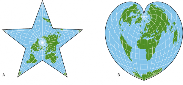 <p><strong>SF Fig. 1.8.</strong> Examples of different map projections (<strong>A</strong>) Classic Berghaus Map (<strong>B</strong>) Stabius-Werner projection</p><br />