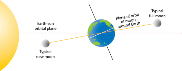 <p><strong>SF Fig. 6.2.</strong> The plane of orbit of the moon around the earth (solid line) is offset from the plane of orbit of the earth around the sun (dotted line). This figure is not drawn to scale.</p><br />