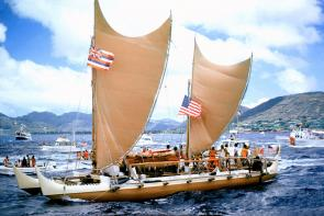 <p><strong>Fig. 3.1.</strong> <em>Hōkūleʻa</em>, a wind-powered traditional Hawaiian voyaging canoe, returns to Honolulu, Hawai'i from Tahiti on its 1975 inaugural voyage.</p><br />