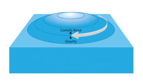 <p><strong>Fig. 3.22.</strong> Coriolis forces, the rotational velocity of Earth, and gravity are responsible for generating geostrophic flow.</p><br />