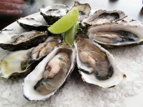 <p><strong>Fig. 3.61.</strong> (<strong>B</strong>) Pacific oysters (<em>Crassostrea gigas</em>) prepared for raw consumption with one shell removed</p><br />