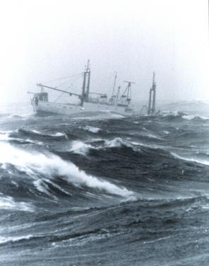 <p><strong>Fig. 4.8.</strong> Photograph of a ship in bad weather on the Georges Bank in the North Atlantic ocean basin</p><br />