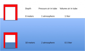 <p><strong>Fig. 9.14.</strong> Diagram of the volume of air in a tube at 0 m and 10 m depth. At 10 m air is compressed to half its volume due to a doubling of the pressure.</p><br />