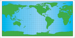 <p><strong>Fig. 1.7.</strong> Cylindrical-projection map with superimposed grid. One square at the equator represents a surface area of about 1,240,000 square kilometers. On this map land is green even if it is covered by ice. This map does not show sea ice.</p><br />