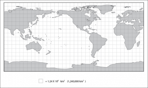 <p><strong>Fig. 1.8.2.</strong> Cylindrical-projection map with superimposed grid. One square at the equator represents a surface area of about 1,240,000 square kilometers. On this map land is grey even if it is covered by ice. This map does not show sea ice.</p><br />