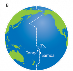 <p><strong>Fig. 1.15</strong> (<strong>B</strong>) Tonga and Sāmoa lie on opposite sides of the international date line.</p><br />