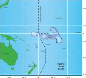 <p><strong>Fig. 1.16. </strong>A close-up view of the international date line around Kiribati.</p><br />
