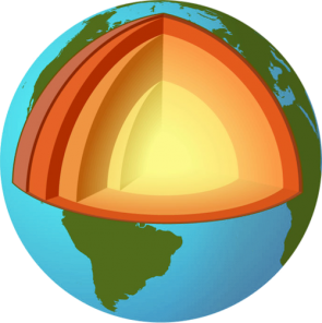 <p><strong>SF Fig. 2.15.</strong> A model of the earth, showing the layers of the earth</p><br />
