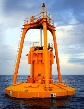<p><strong>SF Fig. 4.11.</strong> Wave power generator buoys (<strong>A</strong>) PB150 PowerBuoy floating off the coast of Scotland, United Kingdom</p>