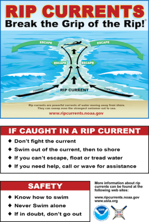 <p><strong>Fig. 5.21.</strong> (<strong>A</strong>) A warning sign explains rip current dangers and how to avoid them.</p>